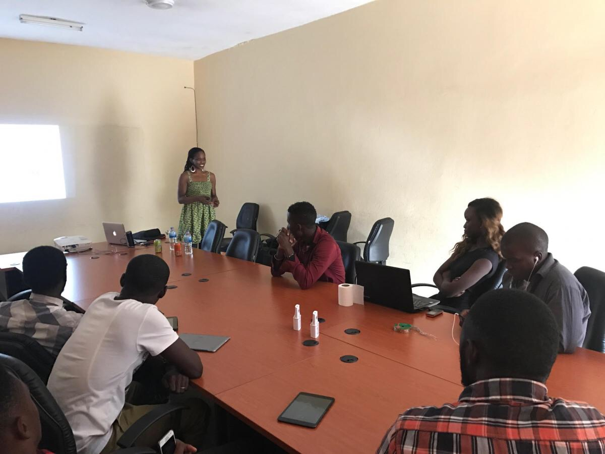 Patricia Foster McKenley delivers a lecture for young Gambian writers, in Gambia, January 2017. Photo was taken by Clovis McKenley.